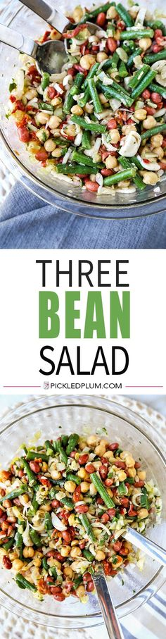 Three Bean Salad - Quick and easy meal ready in just 15 minutes! bean salad recipe, vegan salad, plant based recipes, vegetarian bean salad, side dish, green bean salad recipe, healthy dinner recipe | pickledplum.com