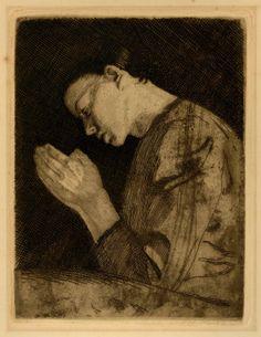 Kathe Kollwitz (1867-1945) Betendes Mädchen [Woman Praying), 1892 From the 1931 von der Becke edition with blindstamp (Klipstein 11: IV b) Etching, drypoint, aquatint and sandpaper in dark brown ink on thick cream wove paper 19.4 x 14.9 cm (plate); 31.4 27 cm (sheet)