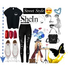 SheIn by ernaa0 on Polyvore featuring WithChic, Converse and GE