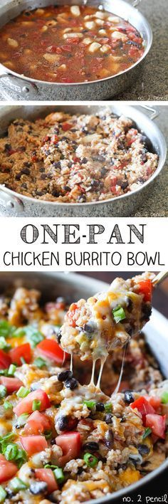 This recipe for One-Pan Chicken Burrito Bowls is one of my new favorites. Its packed with flavor and so easy to make. I combined boneless, skinless chicken breast, Mexican rice, black beans, and tomatoes with Mexican spices. Its so delicious and the bes Chicken Burrito Bowl, Chicken Burritos, Burrito Bowls, Chicken Enchiladas, Chicken Fajitas, Steak Fajitas, Think Food, I Love Food, Great Recipes