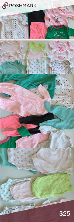 3 Month old Bundle Variety bundle of 3 month old clothes warm Jumpsuits, pants, long sleeve onesies, short sleeve onesies, and tank top onesies. Half only washed never used. Everything washed with dreft baby hypoallergenic detergent. Other
