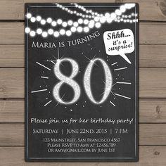 80th birthday invitation Silver Glitter Surprise Party Chalkboard adult surprise birthday invites Adult invitation ANY AGE Printable digital