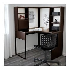 IKEA - MICKE, Corner workstation, black-brown, , You can keep your desk clear of paper by writing your notes on the magnetic writing board on the back panel or fastening your to-do lists there with a magnet.You can adjust the shelves to fit different things, and adjust them again whenever you need to. Adjustable shelves help you use your space more efficiently.It's easy to keep cords and cables out of sight but close at hand with the cable outlet at the back.You can mount the legs to the…