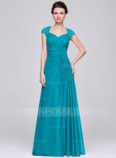 A-Line/Princess Sweetheart Floor-Length Chiffon Mother of the Bride Dress With Ruffle Lace Beading Sequins (008056888)