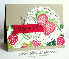 Stampin' Up! Fresh Fruit Stand Strawberry Thank You Card #stampinup for Stamp of the Month Club card Kit by Julie Davison www.juliedavison.com/clubs
