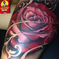 this gallery curated by Yallzee you will find some of the most gorgeous rose tattoos that you have ever seen. like this tattoo by Brian Geckle. #inked #inkedmag #tattoo #rose #color #art #ink #idea
