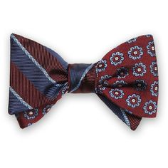 Brooks Brothers Stripe Floral Self-Tie Bow Tie ($70) ❤ liked on Polyvore featuring men's fashion, men's accessories, men's neckwear, bow ties and red
