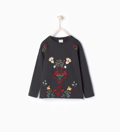 T - shirt with embroidered flowers - Girl - NEW IN | ZARA United States