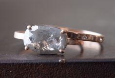 Natural Silver-Grey Rose Cut Diamond Ring