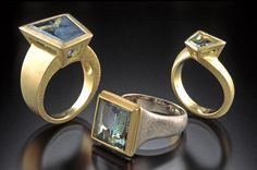Rings by Klaus Spies of mirror-cut Brazilian aquamarine set in 18kt white and yellow gold (spiesjewelrydesign.com)