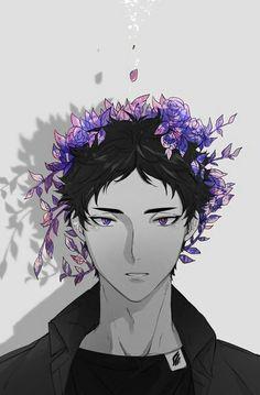 Akaashi Keiji with violet flower crown - bishounen Haikyuu fanart. Haikyuu Akaashi, Haikyuu Fanart, Kagehina, Haikyuu Anime, Akaashi Keiji Hot, Iwaizumi Hajime, Bokuto Koutarou, Iwaoi, Oikawa