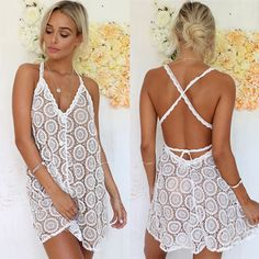 Sexy Women Bathing Suit Lace Crochet Swimwear Bikini Cover Up Party Beach Dress #Unbranded #CoverUp