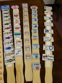 Bible Memory Sticks! Use paint sticks and velcro to make an activity of putting things in order; could also be helpful for kids with special needs in your Awana Club. from Hands On Bible Teacher: Paint Paddles Turned Bible Facts Review Sticks!!!