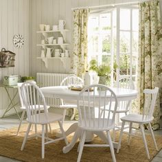 country style bedrooms in pink and white | Vintage-style dining room | Dining room furniture | Vintage ...