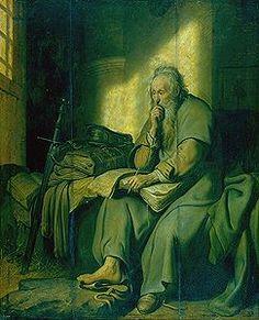 Rembrandt Harmensz. van Rijn (1606–1669) »St. Paul in Prison« Les centres d'intérêt de Rembrandt, caractéristiques de son style se font jour ; opposition de grandes masses claires et sombre, modelé moins léché. Le clair-obscur ne met pas en valeur la réalité comme chez les caravagesques mais recherche comm echez Elsheimer à créer une ambiance surnaturelle.