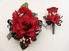 Wedding Prom Metallic Black Red Roses Floral Wrist Corsage and Boutonniere Set or 1 piece Corsage Only.Wrist Corsage has a large Red open rose in the center sm