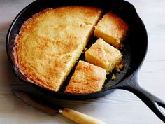 Alex likes to serve her Skillet Cornbread tableside, straight from the skillet. It's great for breakfast, lunch and dinner.