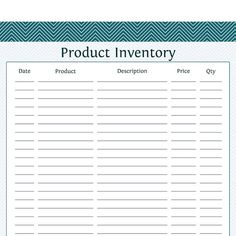 Product Inventory - Business Planner - Printable PDF