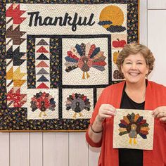Six different quilt blocks come together to create this adorable piece of fall home decor! Follow along with the free, quick and easy wall hanging tutorial to make your own Thankful Wall Hanging just in time for the autumn season. #missouristarquiltco #thankfulwallhanging #fall #autumn #falldecor #autumndecor #falldecorideasdiy #falldecorideasforthehome #falldecorideas #autumndecorations #wallhanging #miniquilt #thankfulquotes #thanksgivingdecor #fabricturkey #flyinggeesequiltblock