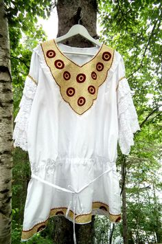 Vintage Embroidered Top, Blouse, Mini Dress, ethnic - gypsy- boho-chic. Gold, red and white