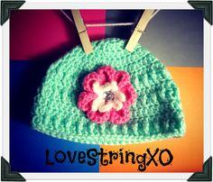 Crochet Flower Mint Baby Beanie / Photo Props / Girls hat / Etsy Baby / Crochet Bebe / Handmade gift ideas. $22.00, via Etsy.