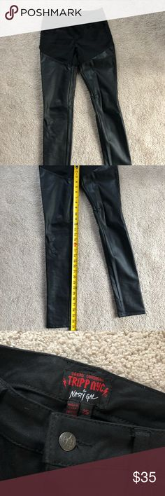 Nasty Gal leather jeans Nast Gal faux leather jeans.   Butt and hip area are black jean material. Legs are faux leather.   Worn a few times.   31 inch inseam. Nasty Gal Pants