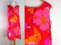 POMARE Hawaiian Dress Vintage 70s Dress Neon by sixcatsfunVINTAGE #hawaiiandress