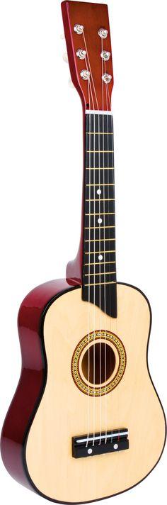 Speel de sterren van de hemel op deze bruine houten gitaar met 6 kunststof snaren! Door het kleine formaat is deze gitaar perfect voor jonge muzikanten. Inclusief extra snaren en plectrum.   Afmetingen:65 x 22 x 5,5 cm - Base Toys Houten Kindergitaar