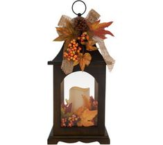 """Plow & Hearth 17"""" Wooden Fall Lantern w/ Flameless Candle - H216472"""