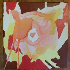 """12"""" x 12"""" Poured Acrylic Original Painting - Bear in Brown, Pink, Orange, and Yellow - For sale on Etsy!"""