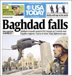 Image result for saddam hussein's statue tobled in 2003 newspaper articles
