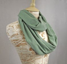 Jersey Infinity Scarf Sage Green Jersey Circle by ForgottenCotton, $20.00