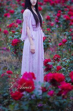 Greek Goddess Style Peach/white/Ivory/Purple Wedding by LAmei, $350.00