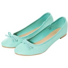 Mint Green Basic Ballet Pumps ($5.71) ❤ liked on Polyvore featuring shoes, bow shoes, round cap, faux leather shoes, round toe shoes and ballerina shoes