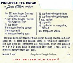 Old Recipes, Vintage Recipes, Bread Recipes, Pineapple Tea, Crushed Pineapple, Baking Breads, Baking And Pastry, Pineapple Health Benefits, French Toast Muffins