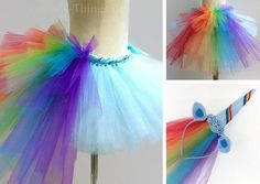 RAINBOW UNICORN TUTU SKIRT COSTUME 2pc SET w/ bustle tail and unicorn horn headband w/ tulle veil CUSTOM COLORS UPON REQUEST- My adorable handmade Tutu Skirt Set with Rainbow bustle tail and Unicorn Headband is a perfect costume for little pony party! The tutu skirt is 10 long with a