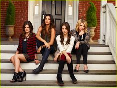 pll fourth season promo pics 02, Lucy Hale, Troian Bellisario, Ashley Benson and Shay Mitchell pose for some group photos on a porch for the upcoming season of Pretty Little Liars. The four girls…