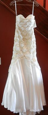 GREAT GATSBY VINTAGE HOLLYWOOD GLAMOUR UNIQUE FORMAL GOWN NWT 4  WHITE dress
