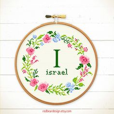 Baby Cross stitch pattern Floral wreath with Alphabet