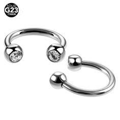 1PC G23 Titanium Fake Nose Rings Piercings Horseshoe Rings with Clear Gem Eyebrow Piercings BCR Earrings Tragus Rings Jewelry