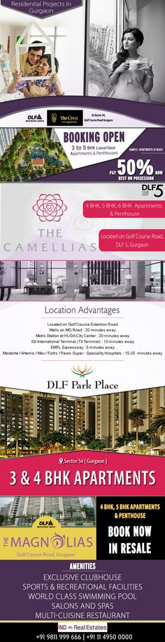 DLF the bulbous builder has created enormous residential projects in Gurgaon including DLF The Crest, DLF Camellias, DLF Park Place, DLF Magnolias Resale. To know more, https://www.indrealestates.com/location/residential-gurgaon/
