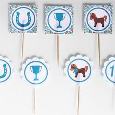 10 décorations pour gateaux- thème poney club-marron turquoise liberty