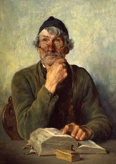Kauffmann, Hugo (b,1844)- Man w Book, At Desk (Lesender Alter), 1879
