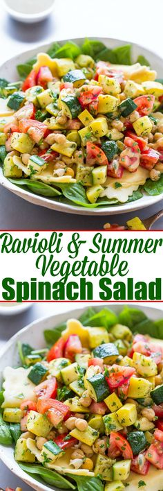 Ravioli and Summer Vegetable Spinach Salad - Crisp-tender zucchini, yellow squash, tomatoes, and chickpeas over spinach with cheesy ravioli and a dijon vinaigrette!! A HEALTHY yet hearty salad that takes advantage of SUMMER!!