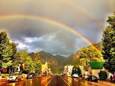 Telluride street after a storm, Colorado, USA