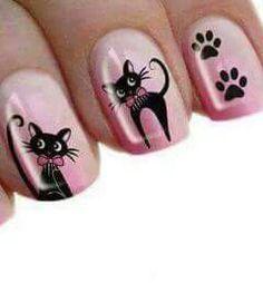 Animal Nail Designs, Gel Nail Art Designs, Chic Nail Art, Hooded Eye Makeup, Cat Nails, Nailart, Flower Nails, Beautiful Nail Art, Pretty Nails