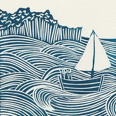 A limited edition linocut seascape print in indigo blue. Michelle Hughes Design is a printmaker and graphic designer. Her limited edition linocut prints are inspired by nature and the great British countryside. Linocut Prints, Art Prints, Block Prints, Lino Art, Linoprint, Coastal Art, Art Graphique, Art Plastique, Woodblock Print