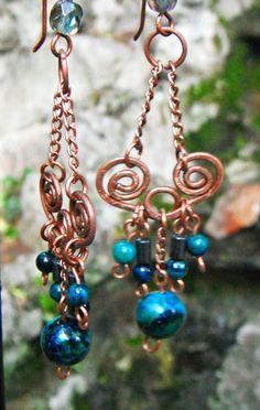 Copper earrings, chrysoholla ,hematite earrings by TemptationJewelryArt on Etsy