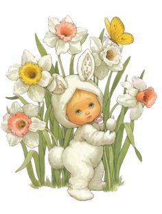 Easter bunny baby in daffodils ~ Ruth Morehead illlustrator Holly Hobbie, Easter Pictures, Cute Pictures, Happy Easter, Easter Bunny, Etiquette Vintage, Baby Kind, Vintage Easter, Illustrations