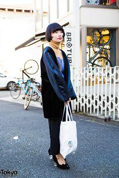 Sawako. Harajuku Girl in DEPT Tokyo Velvet Coat, Turtleneck & Teddy Bear Heels